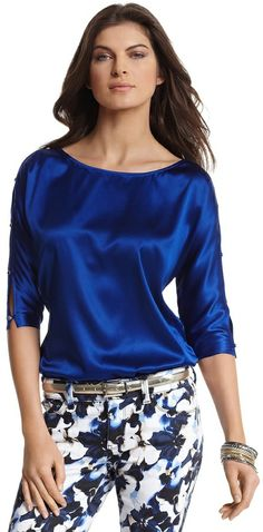 White House Black Market Sapphire Silk Dolman Sleeve Blouse on shopstyle.com