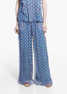 Silk palazzo trousers -  Women   MANGO #palazzopants #women #covetme