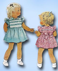 1940s Vintage McCall Sewing Pattern 878 Toddler Girls WWII Smocked Dress Size 3 #McCall #DressPattern