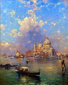 Gondolas in front of Santa Maria della Salute, Venice ~ Artist: Franz Richard Unterberger