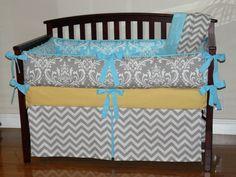 Gray  Damask /   Aqua Blue  Damask / Gray Chevron, Yellow, 3pc Bedding Set on Etsy, $255.00
