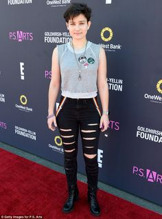 'I am v gay': Scream star Bex Taylor-Klaus, pictured last week, came out as gay on Wednesda Bex Taylor Klaus, Rebecca Taylor, Emo Outfits, Cute Outfits, Trendy Outfits, Audrey Jensen, Mtv Scream, Androgynous Fashion, Androgynous Boy