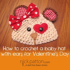 crochet baby hat with ears valentines day