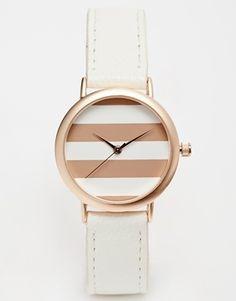 ASOS Rose Stripe Midi Face Watch