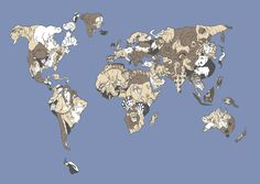 map of the world recreated with animal shapes ... very clever!
