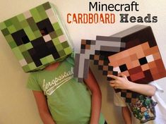 My kids love these Minecraft Cardboard Heads, they use them to play Minecraft offline and at Halloween they dress up with them. We bought the Minecraft Cardboard Heads with Steve and the Creeper. Minecraft Toys For Kids, Minecraft Party, Tween Boy Gifts, Gifts For Boys, Christmas Presents For Eight Year Olds, Toys For Boys, Kids Toys, Best Christmas Toys, 8 Year Old Boy