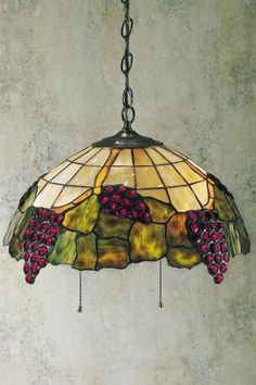 Medium Tiffany-Style Grape Vineyards Pendant