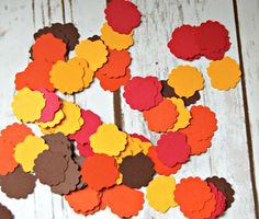 Our coordinated, shaped confetti is a great way to add a little extra to the buffet table, place setting, birthday card, perfect almost anywhere. You will receive 100 shaped confetti pieces in an asso