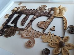 This is a decoratet letters or name , quilling art Quilling Art, Gifts For Kids, Typography, Letters, Decor, Presents For Kids, Letterpress, Gifts For Children, Decoration