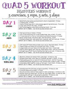 Quad 5 Workout for Beginners. Nice to do at home o | My Fit Motiv