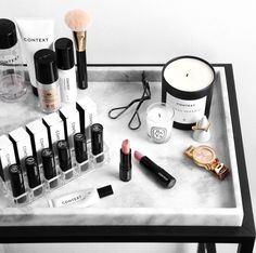 marble tray | marble table | makeup shot | makeup picture | blog picture | lipstic | makeup | beauty products | marble obsession |
