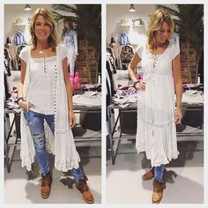 """ODD MOLLY """"Coral tank top"""" Light chalk, 995:- """"Anemone dress"""" Light chalk, 1995:- REPLAY jeans, 1699:- Skor från A.S.98, 2299:- #jenciclindome #jencic #spinneriet #spinnerietlindome #replay #oddmolly #as98"""