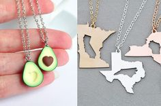 A pair of state cutout necklaces that'll keep you and your friends connected, even when your crew is thousands of miles apart. | 34 Friendship Necklaces That Are Cute AF