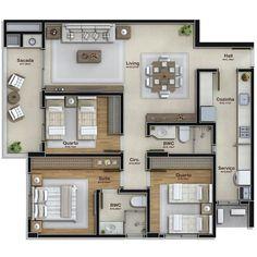Apto de 81m² com dois quartos, uma suite, banheiro social, cozinha, área de serviço, jantar e estar/tv integrados e sacada com…