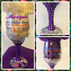 Glitter, gemstones, rhinestones & bling wine glass $18