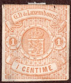 Luxembourg #4 1c Buff f 1863 Frankfort Print Unused Hinged slight flaw see scans