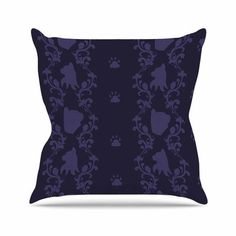 """East Urban Home Stephanie Vaeth Cat Damask Pattern Outdoor Throw Pillow Size: 18"""" H x 18"""" W x 5"""" D"""