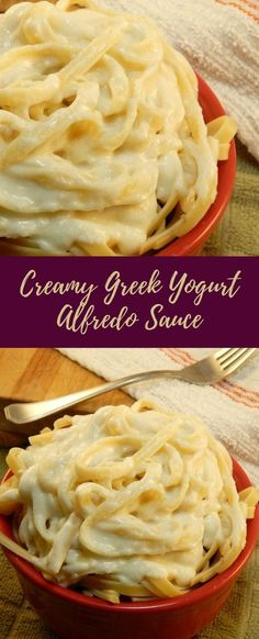 Get this delicious recipe for a lean protein-packed Alfredo Sauce that uses Greek yogurt instead of tons of butter and cream. Greek Yoghurt Recipes, Plain Yogurt Recipes, Greek Yogurt Pasta, Homemade Greek Yogurt, Healthy Alfredo Sauce Recipe, Cream Pasta, Homemade Alfredo, Lean Protein, Lean Recipes