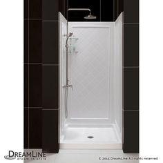 """Dreamline DL-6194 SlimLine Shower Installation Package with 76-3/4"""" High x 36"""" W White / Center Drain Showers Shower Modules 4 Piece"""