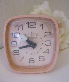 Vintage Pink Wind Up Westclox Alarm Clock by Sisters2Vintage,