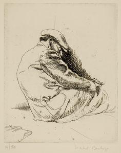 Isabel Bishop / Sleeping Man / etching / Union Square / New York / Teller 11a / Eight Etchings, 1930--1959 / printmaking / drawing / art / decor