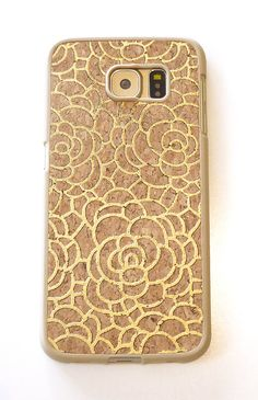 For Samsung Galaxy S6 Gold Camellia Floral Flower Wood Cork TPU Cell Phone Smartphone Mobile Case Cover