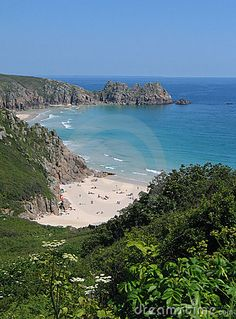 Bay with beach and cliffs, Porthcurno, Cornwall, England Devon And Cornwall, Cornwall England, Vacation Trips, Vacation Spots, Location Villa, Holiday Places, Heaven On Earth, British Isles, Britain