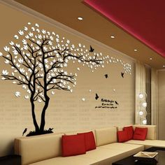 New arrival Lovers tree Acrylic crystal wall stickers DIY art wall decor stickers Living room tv sofa wall decoration Rustic Home Decor Cheap, Vintage Home Decor, Diy Wand, Tree Wall Art, Tree Wall Painting, Wall Painting Living Room, Painting Walls, Wall Art For Bedroom, Paintings For Living Room