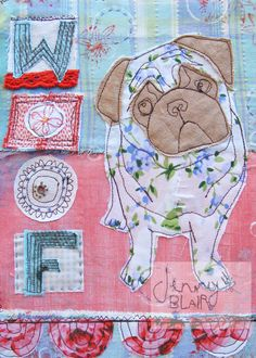 textile pug sweet and fun limited edition print