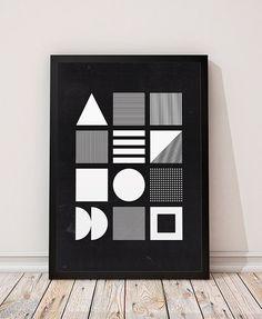 Minimalistische drucken, moderne Kunst, geometrische print, minimalistischen Poster, moderner Wandkunst, schwarz und weiß, Monochrom drucken, geometrische Formen