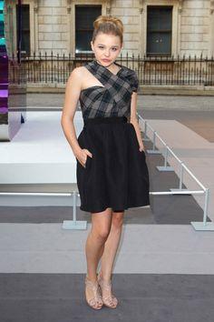 Chloe Grace Moretz in asymmetrical tartan from Carven