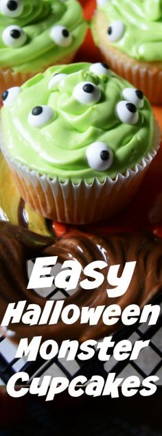 Easy Halloween Cupcakes monster party food for Halloween
