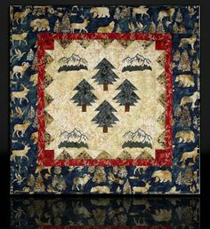 """QUILT Handmade Wall Hanging - Wildlife Pines & Mountains 28""""x28"""" #22 by RockyMtnHighQuilts on Etsy"""