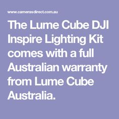 The Lume Cube DJI Inspire Lighting Kit comes with a full Australian warranty from Lume Cube Australia.