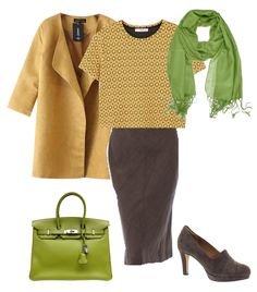 Deep Autumn looks right at home in mustard yellow. This color is warm with a little brown added. I paired it with an olive green that is close to mustard on the deep autumn color wheel. A dark taupe is a perfect neutral for a deep autumn.  I found an outfit that uses a darker shade of mustard yell