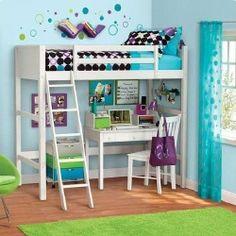 White Twin Wood Wooden Loft Style Bunk Bed Storage Bedroom Teens Kids Furniture