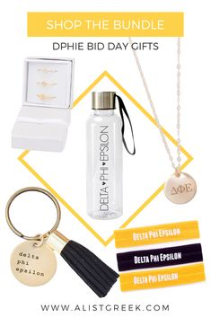 A-List greek's bestselling DPhiE Bid Day Gifts! Gift your new members the cutest Delta Phi Epsilon accessories  by themselves or in a trendy bundle. Shop all products at www.alistgreek.com! #biddaygifts #sororitybidday #gifts #dphie #deepher #deltaphiepsilon #dphiebidday #sororitygifts #greeklettergifts #greekletterjewelry