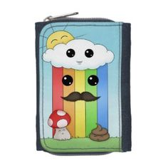 Kawaii Sunny Day & Poop Wallets -This kawaii lil design has everything from a rainbow with a mustache, the best kind of rainbow, to mushrooms and happy little poopies. Come check them out, ne? I'm working on a special nighttime version as well.