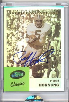 ETOPPS IN HAND CLASSIC PAUL HORNUNG SIGNED AUTOGRAPH MVP GREEN BAY PACKERS COA
