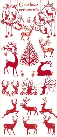 Зимние и новогодние орнаменты с оленями, снежинками и ёлками, на белом фоне