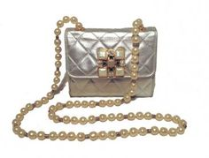 Chanel Vintage Silver Leather and Pearl Evening Shoulder Bag