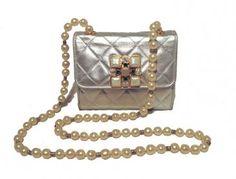Chanel Vintage Silver Leather and Pearl Evening Shoulder Bag