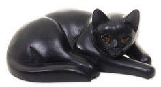 Nengah Sudarsana Artisan Carved Black Cat Wood Sculpture