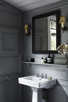 Small shelf above sink adds practical storage in a bathroom or powder room cloakroom room. Gray walls, beautiful mouldings and a white pedestal sink. Bathrooms Remodel, Greige Design, Beautiful Bathrooms, Bathroom Design, House Bathroom, Home, Interior, Bathroom Decor, Victorian Cottage