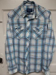 39fc441bfd83 American Eagle Mens Medium Blue, White, and Black Long Sleeve Button Up Shirt  Shirt