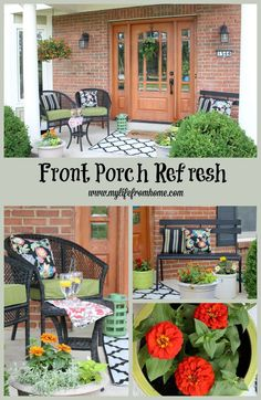 Front Porch Refresh adding design elements and new furniture along with plants and other accessories to create a cozy, comfortable porch  by http://www.mylifefromhome.com | curb appeal | curb appeal ideas | front porch | outdoors | styling outdoors | gardening | landscape lighting | front porch refresh