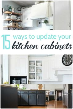 There are more ways to update kitchen cabinets than just paint! 15 amazing ways to redo the kitchen cabinets you already have. Turn your current kitchen into your dream kitchen.