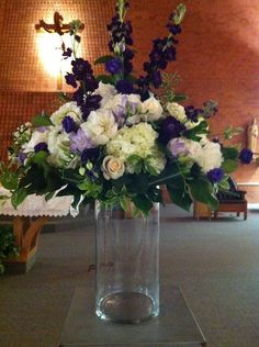 Purple Church Wedding Ceremony Flowers