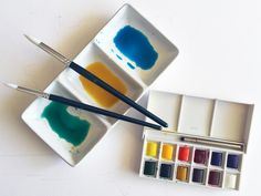 watercolour paints ready to add to my Melbourne prints