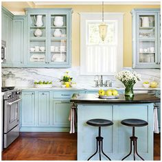 Blue and Yellow Kitchen Decor . 24 Unique Blue and Yellow Kitchen Decor . How to Decorate the Kitchen Using Yellow Accents Yellow Kitchen Cabinets, Yellow Kitchen Decor, Farmhouse Kitchen Cabinets, Kitchen Cabinet Colors, Painting Kitchen Cabinets, White Cabinets, Yellow Kitchen Designs, Green Kitchen, Blue Walls Kitchen
